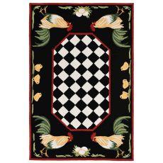 "Liora Manne Frontporch Rooster Indoor/Outdoor Rug Black 5'X7'6"""