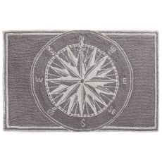 Liora Manne Frontporch Compass Indoor/Outdoor Rug Grey 5 ft. Round