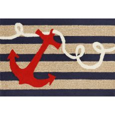 Liora Manne Frontporch Anchor Indoor/Outdoor Rug Navy 24 in. x 60 in.