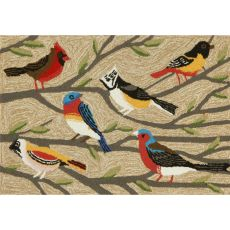 Liora Manne Frontporch Birds Indoor/Outdoor Rug Natural 24 in. x 60 in.
