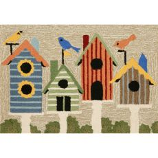 Liora Manne Frontporch Birdhouses Indoor/Outdoor Rug Natural 24 in. x 60 in.