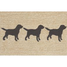 Liora Manne Frontporch Doggies Indoor/Outdoor Rug Natural 24 in. x 60 in.
