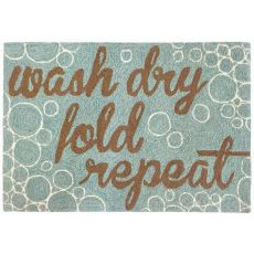 Liora Manne Frontporch Wash...and Repeat Indoor/Outdoor Rug Blue 24 in. x 60 in.