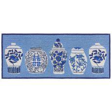 "Liora Manne Frontporch Ginger Jars Indoor/Outdoor Rug Blue 24""X60"""