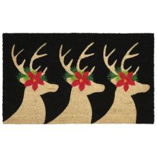 "Liora Manne Natura Deer Indoor/Outdoor Mat Black 18""X30"""