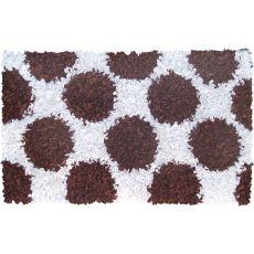 Polkamania Brown/White Shag Rug, 2.8 X 4.8