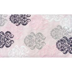 Brocade Pink Flannel/Hook Rug, 4.7 X 7.7