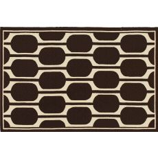 Geo Brown Hook Rug, 5 X 8