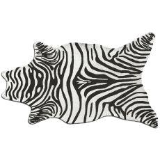Zebra Black Shaped Hook Rug, 5 X 8Shaped
