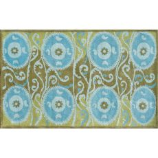 Suzani Tile Blue Tufted Rug, 5 X 8
