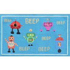 Beep Beep Robots Hook Rug, 2.8 x 4.8
