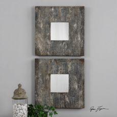 Uttermost Piera Square Aged Stone Mirrors, S/2