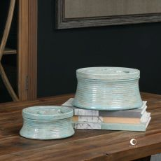Ida Crackled Ceramic Boxes - Set of 2