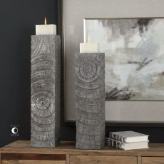 Uttermost Odion Wooden Log Candleholders S/2