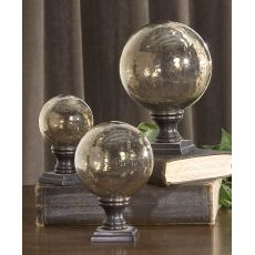 Uttermost Lamya Glass Globe Finials, Set/3