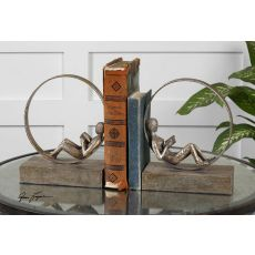 Uttermost Lounging Reader Antique Bookends Set/2