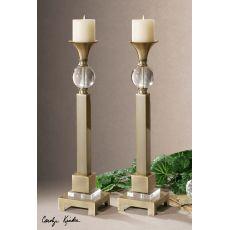 Uttermost Euron Coffee Bronze Candleholders, Set/2
