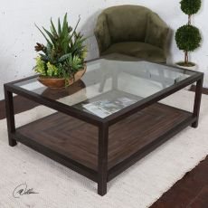 Uttermost Carter Bronze & Glass Coffee Table