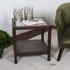 Uttermost Carter Bronze & Glass End Table