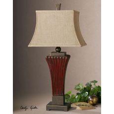 Uttermost Rosso Ribbed Ceramic Lamp