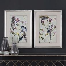 Parchment Flower Field Prints - Set of 2