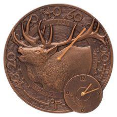 """Elk 14"""" Indoor Outdoor Wall Clock & Thermometer , Antique Copper"""