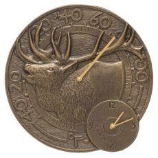 """Elk 14"""" Indoor Outdoor Wall Clock & Thermometer , French Bronze"""