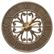 """Villanova 21"""" Indoor Outdoor Wall Clock, Black Gold"""