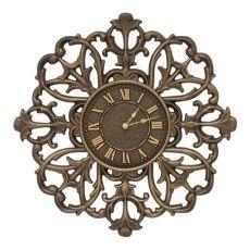 "Filigree Silhouette 21"" Indoor Outdoor Wall Clock , Aged Bronze"