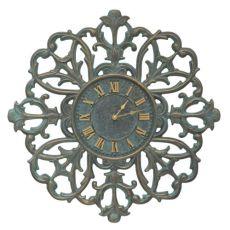 """Filigree Silhouette 21"""" Indoor Outdoor Wall Clock , Bronze Verdigris"""