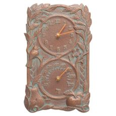 Fruit Bird Indoor Outdoor Wall Clock & Thermometer, Copper Verdigris