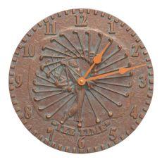 """Golfer 12"""" Indoor Outdoor Wall Clock, Copper Verdigris"""