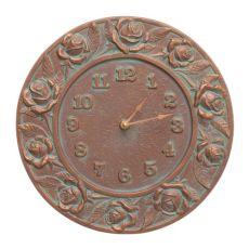 """Rose 12"""" Indoor Outdoor Wall Clock, Copper Verdigris"""