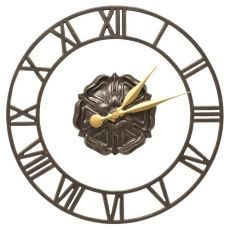"""Rosette Floating Ring 21"""" Indoor Outdoor Wall Clock , French Bronze"""