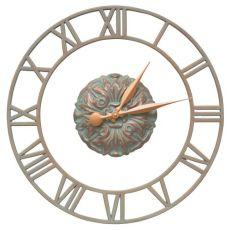 """Cambridge Floating Ring 21"""" Indoor Outdoor Wall Clock, Copper Verdigris"""