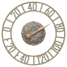 """Cambridge Floating Ring 21"""" Indoor Outdoor Wall Thermometer, Copper Verdigris"""