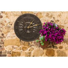 "Sunface 12"" Indoor Outdoor Wall Clock, French Bronze"