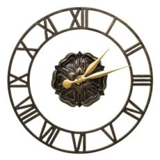 """Rosette Floating Ring 21"""" Indoor Outdoor Wall Clock , Black / Gold"""