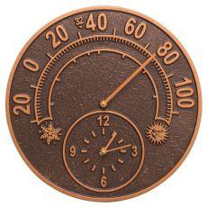 "Solstice 14"" Indoor Outdoor Wall Clock & Thermometer, Antique Copper"