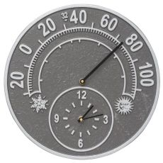 """Solstice 14"""" Indoor Outdoor Wall Clock & Thermometer, Pewter/Silver"""