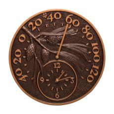 """Pinecone 14"""" Indoor Outdoor Wall Clock & Thermometer, Antique Copper"""