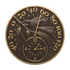 """Pinecone 14"""" Indoor Outdoor Wall Clock & Thermometer, French Bronze"""