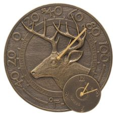 """Whitetail Deer 14"""" Indoor Outdoor Wall Clock & Thermometer, French Bronze"""