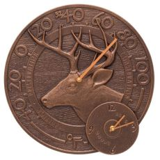 "Whitetail Deer 14"" Indoor Outdoor Wall Clock & Thermometer, Antique Copper"