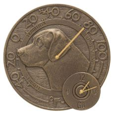 "Labrador 14"" Indoor Outdoor Wall Clock & Thermometer, French Bronze"