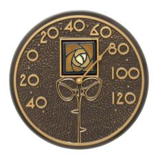"""Amber Dard Hunter Rose 12"""" Indoor Outdoor Wall Thermometer, French Bronze"""