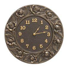 """Rose 12"""" Indoor Outdoor Wall Clock, French Bronze"""