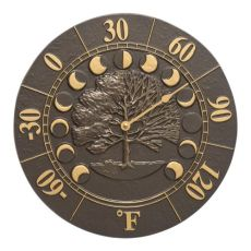 """Times And Seasons 12"""" Indoor Outdoor Wall Thermometer, French Bronze"""