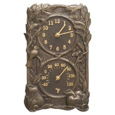 Fruit Bird Indoor Outdoor Wall Clock & Thermometer, French Bronze