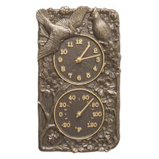 Cardinal Indoor Outdoor Wall Clock & Thermometer, French Bronze